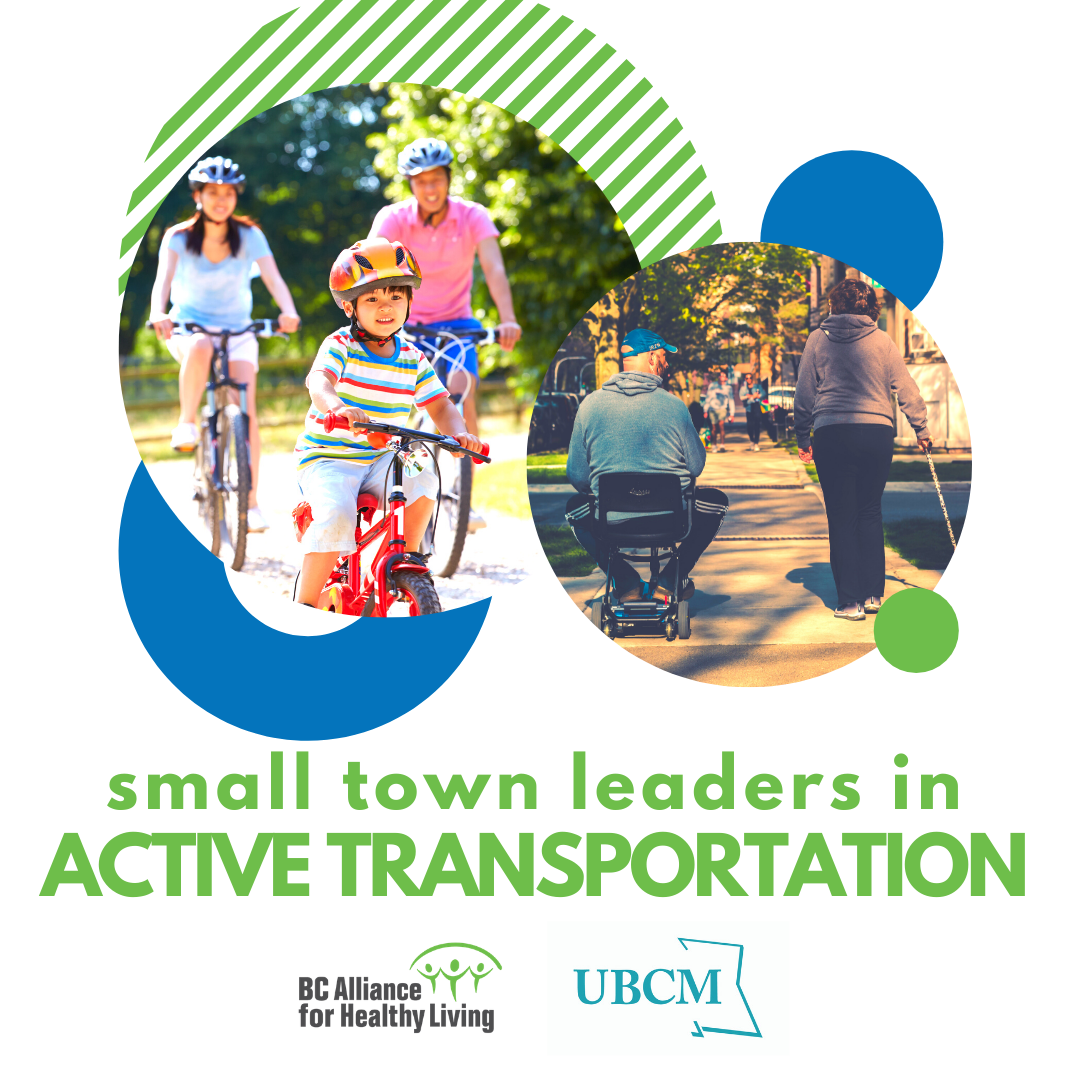 Small Town Leaders in Active Transportation promotional banner with photos of locals biking, using a walking stick, and using a wheelchair to travel